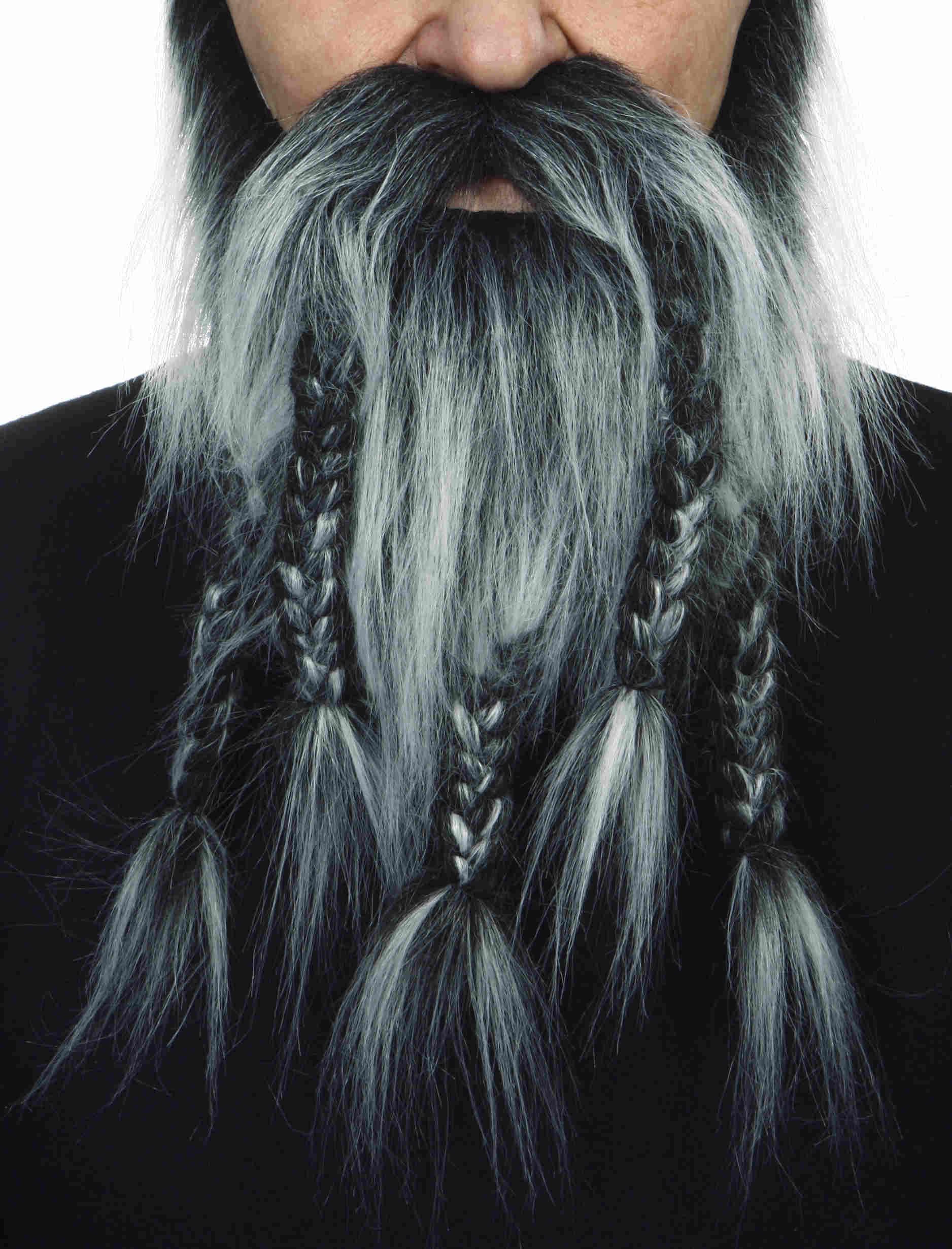 Luxe Grijze Viking Baard met Vlechten
