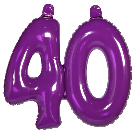 40 Jaar Opblaascijfer Transparant Paars