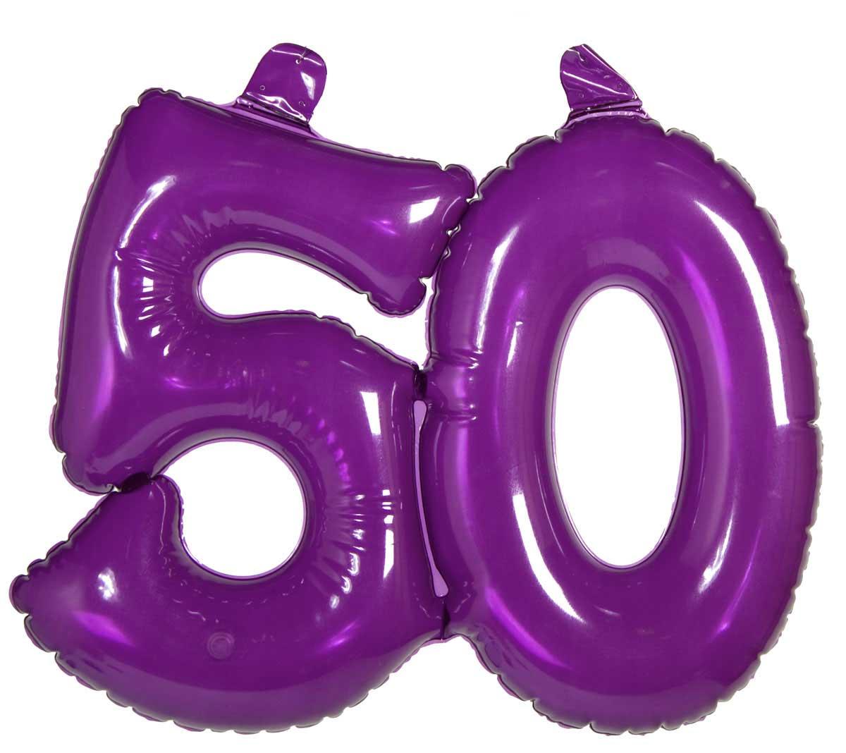Opblaascijfer 50 Transparant Paars