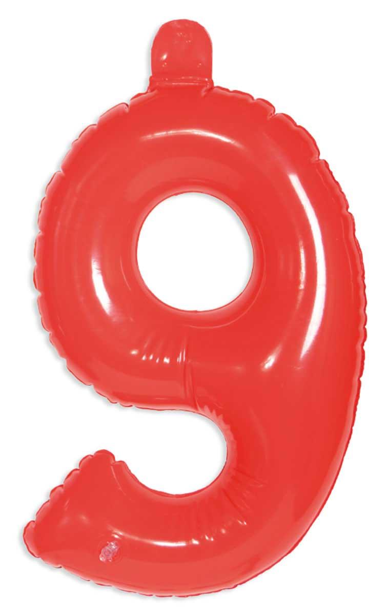 Opblaascijfer 9 rood