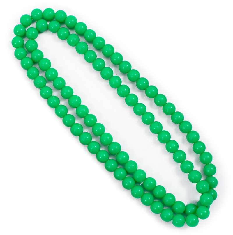 Hippe, vrolijke ketting van 100cm met ronde kralen in neon groen. de groene kleur van deze kralenketting zal ...