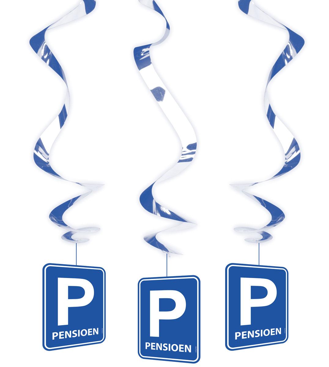 Pensioen Parkeerbord Hangdecoratie Spiraal - 3 stuks