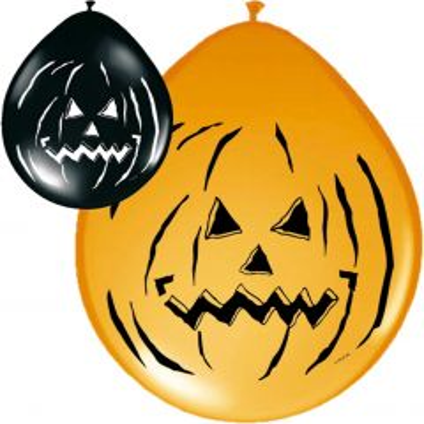 Halloween Pompoen Ballonnen 30cm - 8 stuks