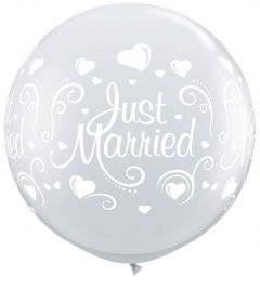 Just Married Ballon Diamond XL 90cm - 2 stuks