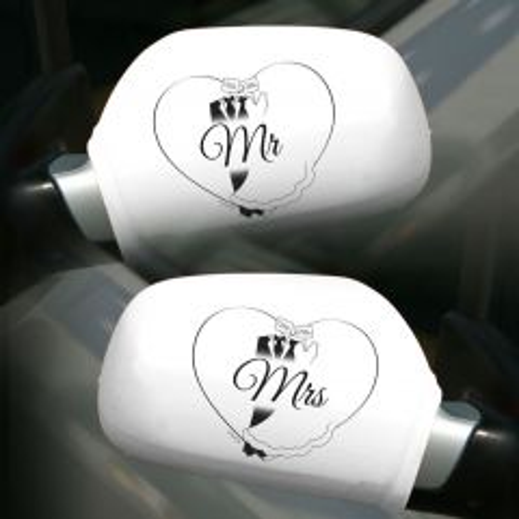 Autospiegelhoezen Bruiloft Mr - Mrs