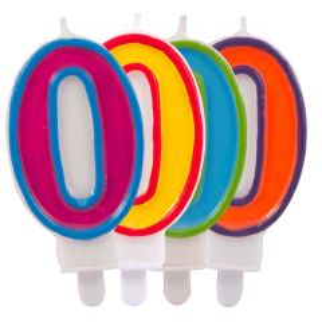 Kaars cijfer 0  in vrolijke kleuren
