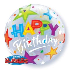 Happy Birthday Stars Bubbles Ballon 56cm