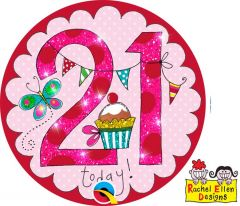 21 Jaar perfect pink roze button