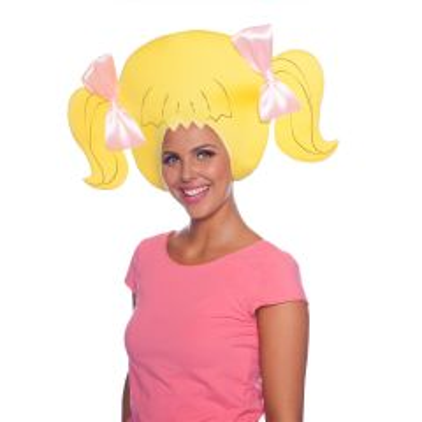 Blond Haar met Roze Strikjes Schuim Pruik