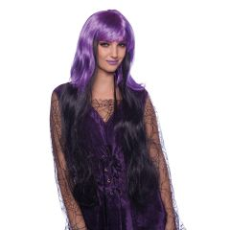 Heksenpruik Paars-Zwart Lang Haar