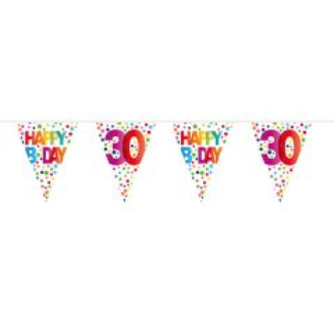 30 Jaar Happy Bday Stippen Vlaggenlijn - 10 meter