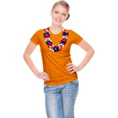 Oranje T-shirt met Hawaiikrans
