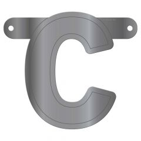 Zilveren Metallic Banner Letter C