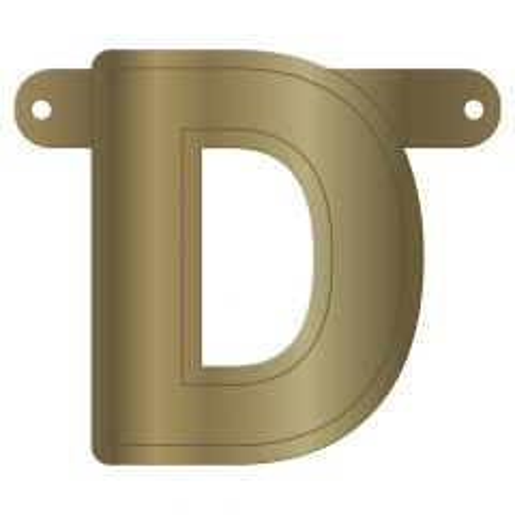Gouden metallic banner letter d