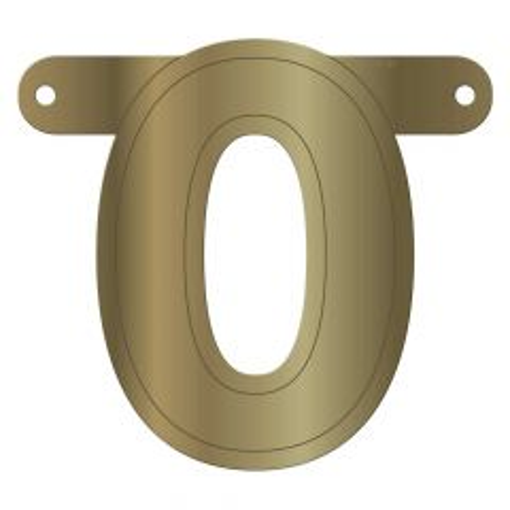 Banner letter 0 metallic goud