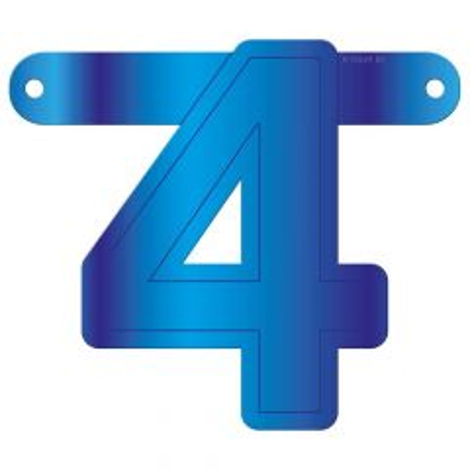 Banner letter 4 blauw