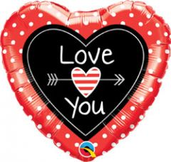 Hartvormige Love You Folieballon - 45cm