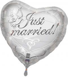 Zilveren bruilofts hartballon Just Married