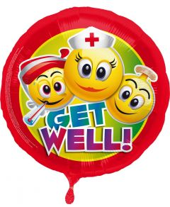 Beterschap ballon - get well emoticons 43cm