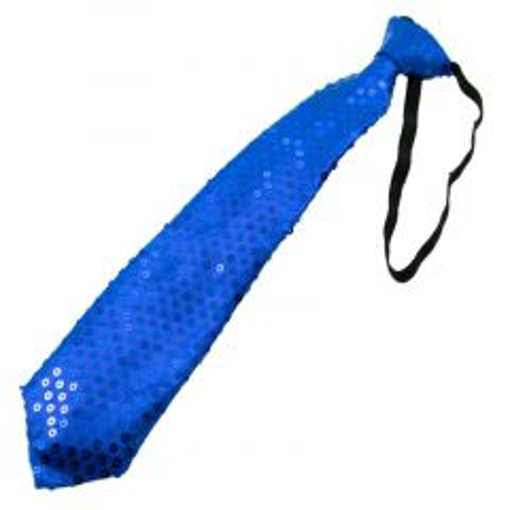 Glitter stropdas met LED metallic blauw