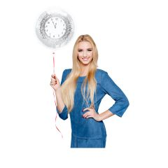 Happy New Year Folieballon Wit-Zilver - 45cm