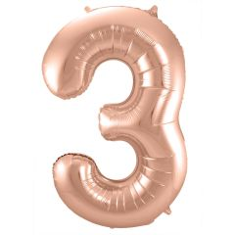 Rosé Goudkleurige Cijferballon cijfer 3 - 86cm