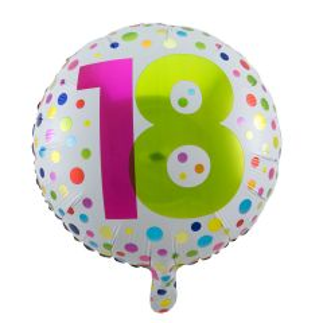 18 Jaar Happy Bday Stippen Folieballon - 45cm