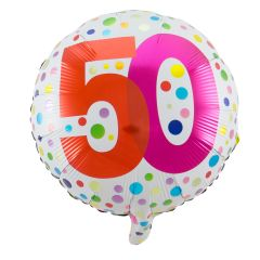 50 Jaar Happy Bday Stippen Folieballon - 45cm