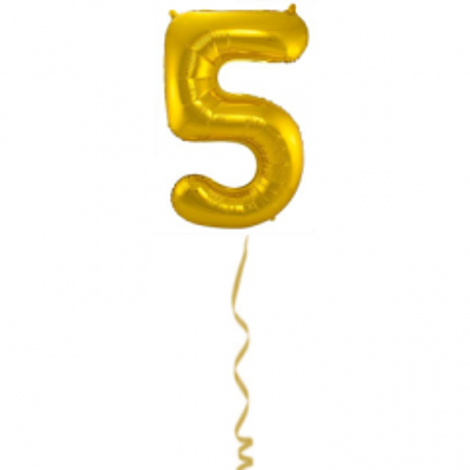 Folieballon Cijfer 5 Goud - 86cm