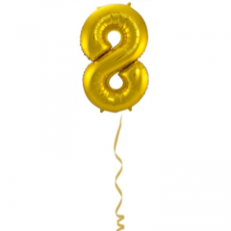 Folieballon Cijfer 8 Goud - 86cm