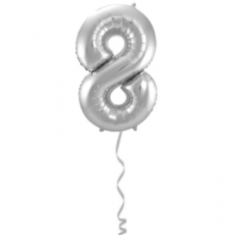 Folieballon Cijfer 8 Zilver - 86cm
