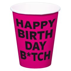 Happy Birthday Bitch Bekers 350ml - 8 stuks