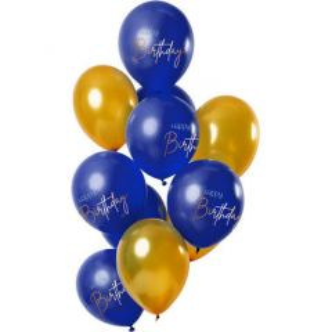 Ballonnen happy Birthday Elegant True Blue - 12stk