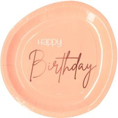 Bordjes Happy Birthday Elegant Lush Blush - 8stk