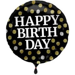 Glossy Black Folieballon Happy Birthday - 45cm