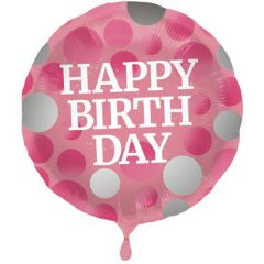 Glossy Pink Folieballon Happy Birthday - 45cm