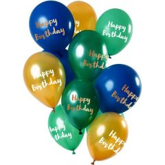 Ballonnen Happy Birthday Mix Groen/Goud - 12stk