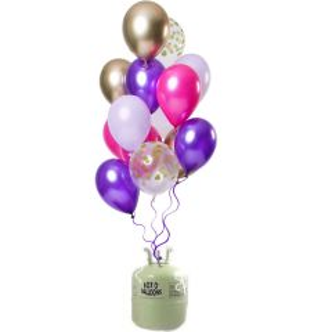 Helium Tank met Purple Posh Ballonnen - 24stk