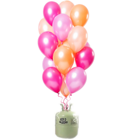 Helium Tank met Peachy Flamingo Ballonnen  - 30stk