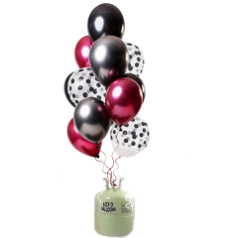 Helium Tank met Dark Richness Ballonnen - 24stk
