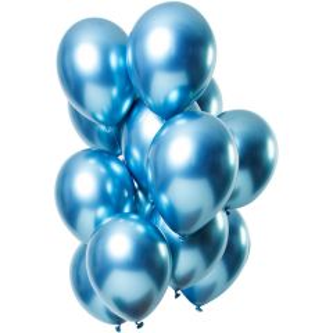 Ballonnen Mirror Chrome Blauw - 12stk