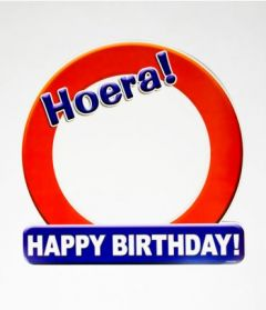 Huldeschild - Hoera Happy Birthday