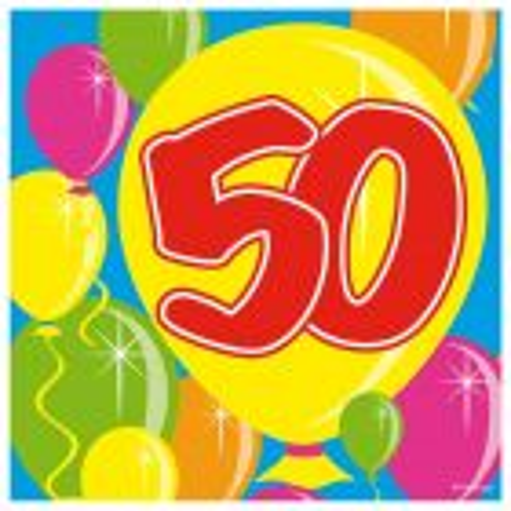 50 Jaar Servetten Balloons 25x25