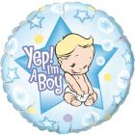 Yep I'm A Boy Geboorteballon jongen - 46cm