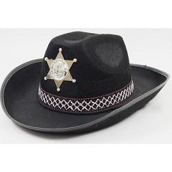 Zwarte Cowboy Hoed met Sheriff Ster