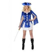 Musketier Kostuum Blauw Dames